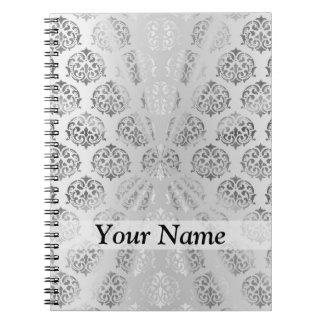 Silver gray damask pattern note book