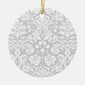 Silver gray damask pattern ornaments