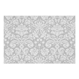 Silver gray damask pattern poster