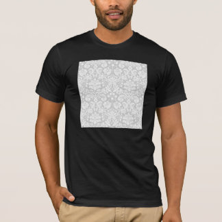 Silver gray damask pattern T-Shirt