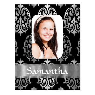 Silver gray damask personalized photo template postcard