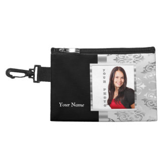 Silver gray damask photo template accessory bag