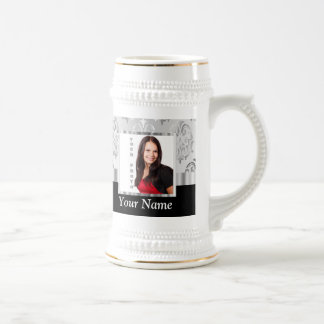 Silver gray damask photo template beer stein