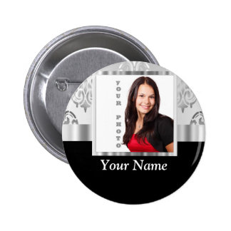 Silver gray damask photo template button