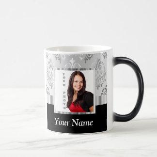 Silver gray damask photo template magic mug