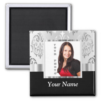 Silver gray damask photo template magnet