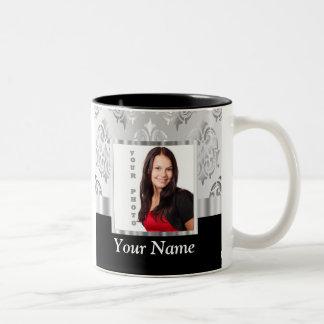 Silver gray damask photo template Two-Tone coffee mug