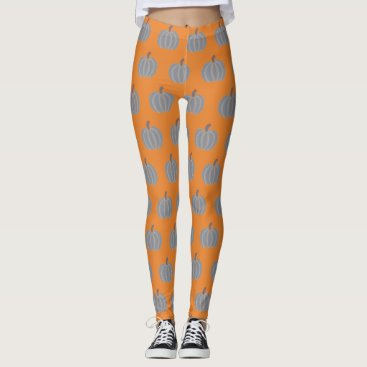 Halloween Themed Silver Gray Decorative Pumpkins on Orange Leggings