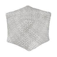 Silver Gray Diagonal Basket Weave Geometric Cube Pouf