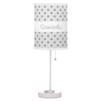 Silver Gray Dot Pattern Custom Name Lamp V067 Lamp