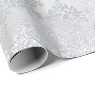 Silver Gray Floral Damask Floral Royal Monochrom Wrapping Paper