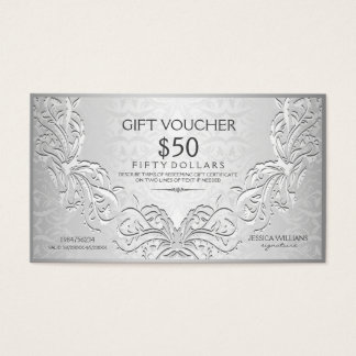 Silver Gray Floral Frame Gift Voucher Business Card