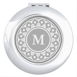 Silver Gray  Floral Pattern Monogrammed Makeup Mirrors