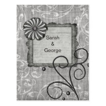 silver gray floral  wedding Thank You Postcard