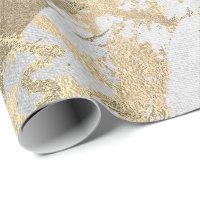 Silver Gray Foxier Gold Marble Shiny Metallic VIP Wrapping Paper