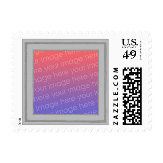 Silver gray frame, add photo postage stamps