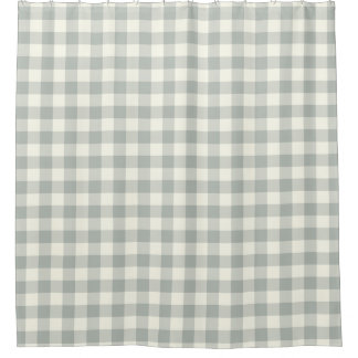 Silver Gray Gingham Shower Curtains