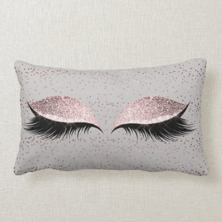 Silver Gray Glitter Black Foxier Blush Makeup Lumbar Pillow