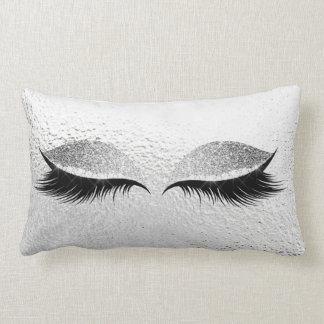 Silver Gray Glitter Black Glam Make Up Gray Lumbar Pillow