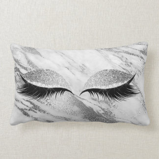 Silver Gray Glitter Black Glam Make Up Gray Marble Lumbar Pillow