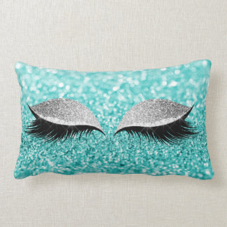 Silver Gray Glitter Black Glam Makeup Tiffany Aqua Lumbar Pillow
