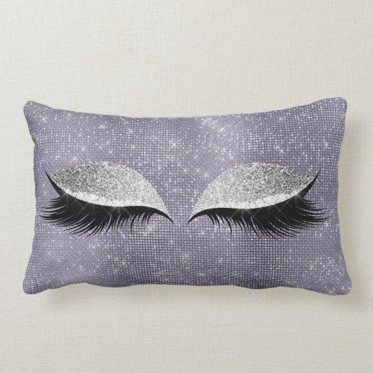 Silver Gray Glitter Black Makeup Purple Sequin Lumbar