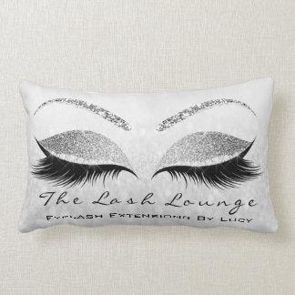 Silver Gray Glitter Eyes Makeup Lashes Beauty Lumbar Pillow