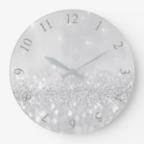 Silver Gray Glitter Minimal Metallic Monochromatic Large Clock