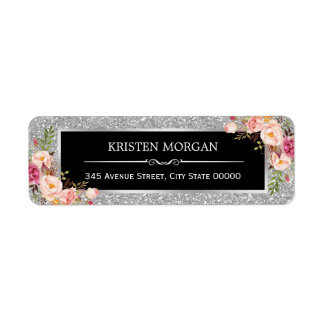 Silver Gray Glitter Sparkles Classy Pink Floral Label