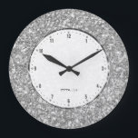 "Silver Gray Glitter Texture Print Large Clock<br><div class=""desc"">Elegant simple silver gray glitter texture print.</div>"