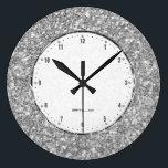 "Silver Gray Glitter Texture Print Large Clock<br><div class=""desc"">Elegant simple silver gray glitter texture print.</div>"