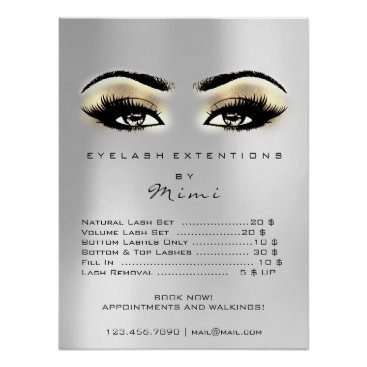 Art Themed Silver Gray Gold Browns Makeup Eyes Lashes Prices Poster