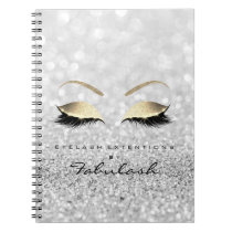 Silver Gray Gold Glitter Eyes Makeup Beauty Notebook