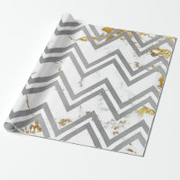 Silver Gray Gold Marble Carrara Chevron Zig Zag Wrapping Paper