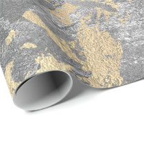 Silver Gray Gold Marble Shiny Metallic Grungy VIP Wrapping Paper