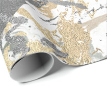 Silver Gray Gold Marble Shiny Metallic White Ivory Wrapping Paper