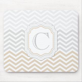 Silver Gray Gold Monogram Chevron Mouse Pad