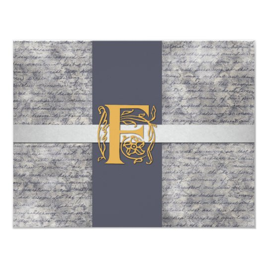 Silver Gray Gold Monogram Letter F Flat Note Cards