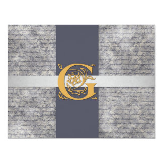 Silver Gray Gold Monogram Letter G Flat Note Cards