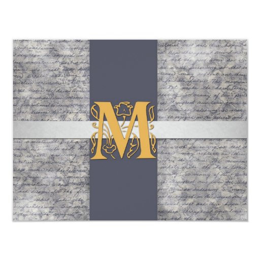 Silver Gray Gold Monogram Letter M Flat Note Cards