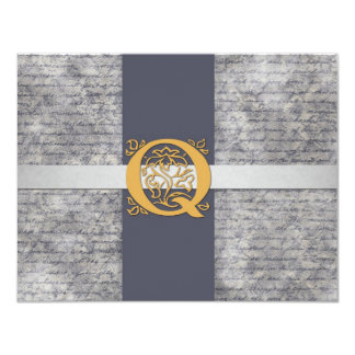 Silver Gray Gold Monogram Letter Q Flat Note Cards