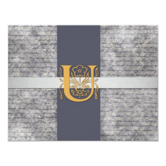 Silver Gray Gold Monogram Letter U Flat Note Cards