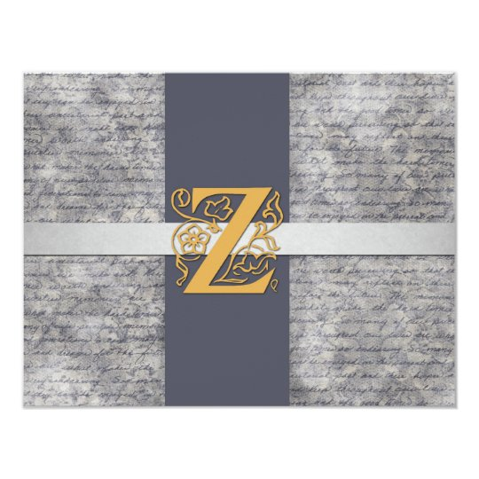 Silver Gray Gold Monogram Letter Z Flat Note Cards
