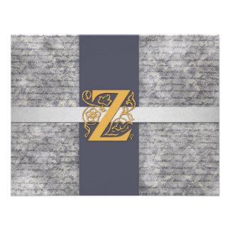 Silver Gray Gold Monogram Letter Z Flat Note Cards Custom Invites