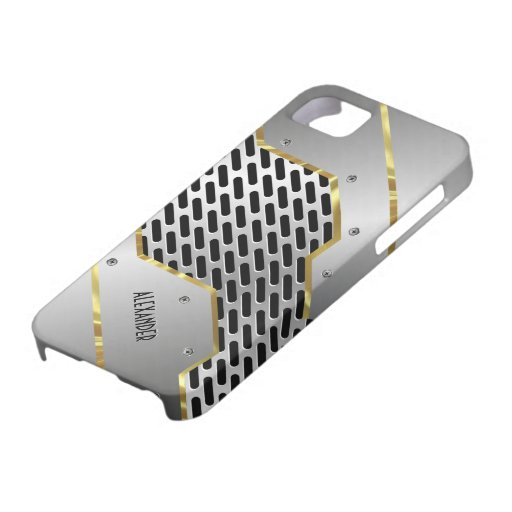 Silver Gray & Gold Shiny Metallic Look iPhone 5 Case