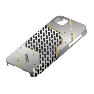 Silver Gray & Gold Shiny Metallic Look iPhone SE/5/5s Case