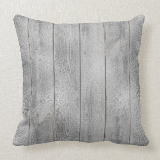 Silver Gray Graphi Glam Metallic Wood Cottage Home Throw Pillow