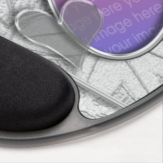 Silver Gray Graphic Heart Oval Photo Frame Gel Mouse Pad