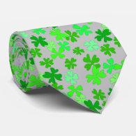 Silver Gray Green Clover Shamrocks Tie