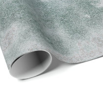 Silver Gray Grungy Marble Stone Teal Green VIP Wrapping Paper